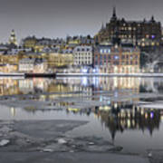 Snowy, Dreamy Reflection In Stockholm Art Print