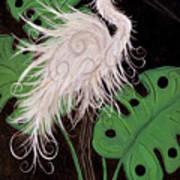 Snowy Egret Deco Art Print