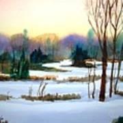 Snowy Landscape Scene Art Print
