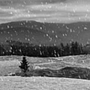Snowy Mountain Farm Art Print