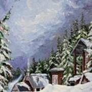 Snowy Mountain Resort Art Print