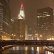 Snowy Night In Chicago Art Print