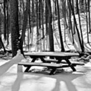 Snowy Picnic Table In Black And White Art Print
