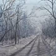 Snowy Road At Dawn  Art Print