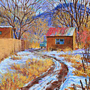 Snowy Road Home Art Print