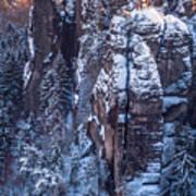 Snowy Rocks. Saxon Switzerland Art Print