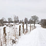 Snowy Rural Landscape Art Print