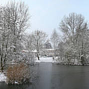 Snowy Scenery Round Canals Art Print