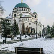 Snowy St. Sava Temple In Belgrade Art Print