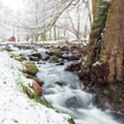 Snowy Stream Landscape Art Print