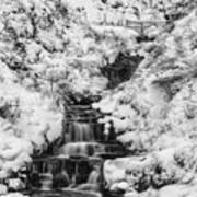Snowy Waterfall In The Peak District In Derbyshire Art Print