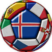 Soccer Ball With Flag Of Iceland In The Center Art Print