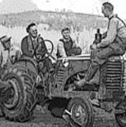 Social Gathering At The Tractor Art Print
