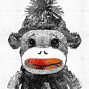 Sock Monkey Art In Black White And Red - By Sharon Cummings Art Print
