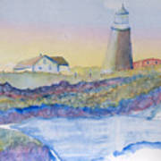 Soft Blue And A Light House Art Print