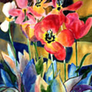 Soft Quilted Tulips Art Print