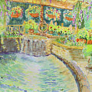 Soft Waterfall In The Pool Of Gibbs Gardens Art Print