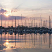 Softly - God Rays And Yachts In Rose Gold And Amethyst  Art Print