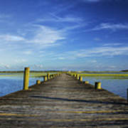 Sol Legare Wooden Dock Vanishing Point Art Print