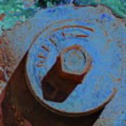 Solarized Rusty Fire Hydrant Art Print