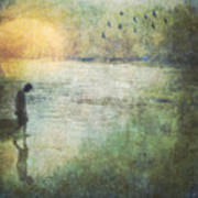 Solitary--walking In Water Art Print