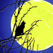 Solitary With Golden Moon Art Print