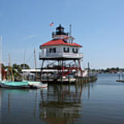 Solomons Island - Drum Point Lighthouse Reflecting Art Print