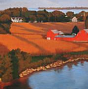Solomons Red Barn At Sunset Art Print
