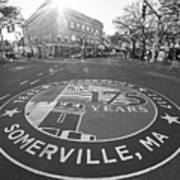 Somerville Ma Davis Square 175 Years Black And White Art Print