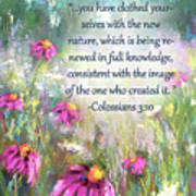Song Of The Flowers With Bible Verse Art Print