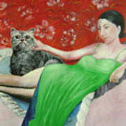 Sorcerer And Her Cat Art Print