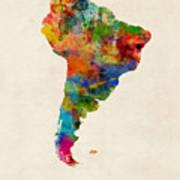South America Watercolor Map Art Print