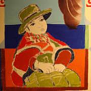 South American girl and UFO Art Print
