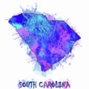South Carolina Map Watercolor 2 Art Print