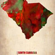South Carolina Watercolor Map Art Print