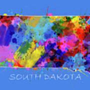 South Dakota Map Color Splatter 3 Art Print