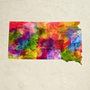 South Dakota State Map 02 Art Print