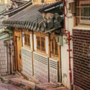 South Korean Hanok Street Art Print