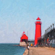 South Pier Of Grand Haven Art Print