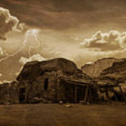 Southwest Navajo Rock House And Lightning  Art Print