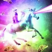 Space Cat Riding Unicorn - Laser, Tacos And Rainbow Art Print