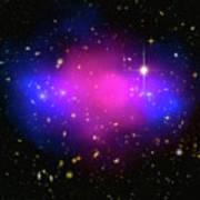 Space Image Galaxy Cluster Purple Blue Black Art Print