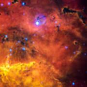Space Image Red Orange And Yellow Nebula Art Print