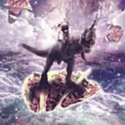 Space Pug Riding Dinosaur Unicorn - Pizza And Taco Art Print