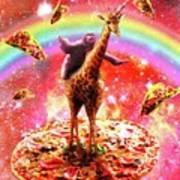 Space Sloth Riding Giraffe Unicorn - Pizza And Taco Art Print