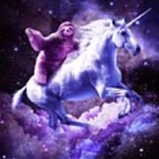 Space Sloth Riding On Unicorn Art Print