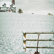 Spade Leaning Against Fence In The Snow Art Print