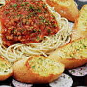 Spaghetti And Meat Sauce With Garlic Toast  Art Print by Andee Design