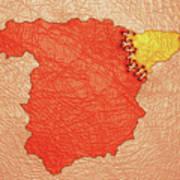 Spanish And Catalonia Tattoo With Stitches Art Print
