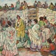 Spanish Manolas Outside The Bullring Art Print